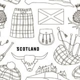 Scotland country set icons pattern Royalty Free Stock Image