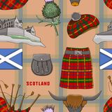 Scotland country set icons pattern stock illustration