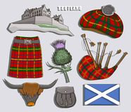 Scotland country set icons Royalty Free Stock Photos