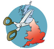 Scotland cut off. Map of Scotland being cut from England with scissors Stock Photos