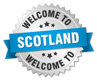 Scotland 3d silver badge. With blue ribbon Royalty Free Stock Images