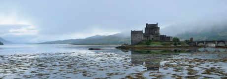 Scotland Eilean Donan castle. Eilean Donan castle panoramic view Royalty Free Stock Photo