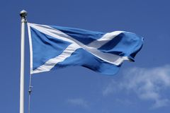 Scotland flag. The famous white cross on blue blowing in the breeze royalty free stock photos