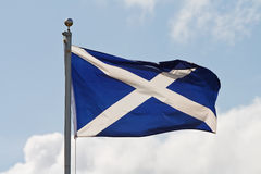 Scotland flag on flagpole. The blue and white cross of st andrew the national flag of scotland ripples in the wind on flagpole royalty free stock images
