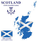 Scotland Flag. Flag and national emblem of Scotland overlaid on detailed outline map isolated on white background Stock Images