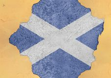 Scotland flag painted on concrete hole and cracked wall facade stock illustration