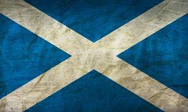 Scotland Flag on Paper. Flag on an old Paper Texture Royalty Free Stock Image