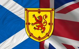 Scotland flag and Royal arms of Scotland over United Kingdom flag. Union Jack royalty free stock image