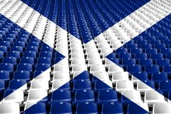 Scotland flag stadium seats. Sports competition concept. Scotland flag stadium seats. Sports competition concept royalty free stock images