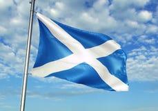 Scotland flag waving with sky on background realistic 3d illustration. Scottish national flag realistic waving blue sky background 3d illustration stock image
