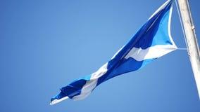Scotland Flag Waving United Kingdom. On Sunny Day stock footage