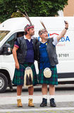 Scotland football team fans in national costume. Vilnius, Lithuania - September 1, 2017: Two middle age men, Scotland football team fans in national clothes Stock Photo