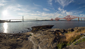 Scotland, forth railway bridge and forth road bridge Royalty Free Stock Photos