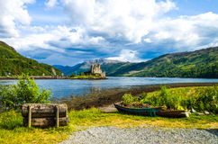 Scotland. Great Britain, Scotland, Highlands, landscape with the Eilean Conan castle in the background Royalty Free Stock Images