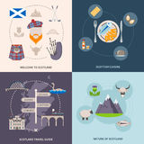 Scotland Guide Icons Set. Scotland travel guide icons set with cuisine and nature symbols flat  vector illustration Stock Image