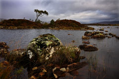 Scotland Highlands. Shot of scottish moor on a cold wet morning with storm clouds stock image