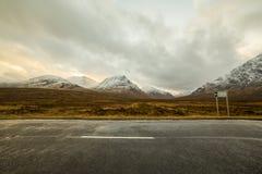 Scotland highlands near Glencoe, beautiful winter landscape for travel. Scotland highlands near Glencoe, beautiful winter landscape for travel and hiking Royalty Free Stock Image
