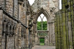 Scotland Holyrood Abbey. Edinburgh Holyrood Abbey ruins inside view Stock Photo