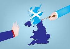 Scotland Independence from Great Britain. A Hand stops a hand to cut The Great Britain map separating Scotland from UK for independence. Vector and Raster stock illustration