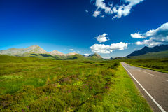 Scotland. Isle of Skye A87 country side road  Highlands Scotland summer holiday vacations Royalty Free Stock Photos