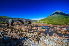 Scotland. Isle of Skye Slogachan River  country side old bridge Highlands Scotland summer holiday vacations Stock Image