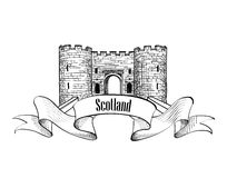 Scotland label with ribbon. Scotch famous Castle. Travel icon Stock Image
