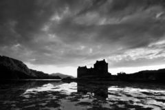 Scotland landscape black and white. Famous tourist attractions and landmarks destination in Scotland nature.UK. Scotland landscape black and white. Famous royalty free stock image