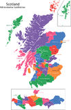 Scotland map. Scotland is divided into 32 areas designated as council areas which are all governed by unitary authorities designated as councils Royalty Free Stock Image