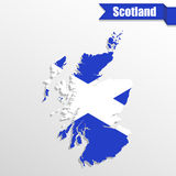 Scotland map with flag inside and ribbon Royalty Free Stock Photography