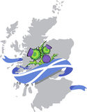 Scotland map with scottish flag and thistle flowers Royalty Free Stock Image