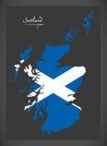 Scotland map with Scottish national flag illustration Stock Photo