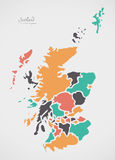 Scotland Map with states and modern round shapes Stock Images