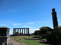 Scotland Monument and Nelson Monument Edinburgh Scotland Royalty Free Stock Images