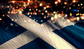 Scotland National Flag Light Night Bokeh Abstract Background. Art royalty free stock image