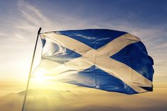 Scotland national flag textile cloth fabric waving on the top vector illustration