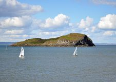 Scotland. Picturesque village to rest and sport in Scotland North Berwick with a bird island Royalty Free Stock Photos