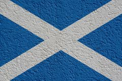 Scotland Politics Or Business Concept: Scottish Flag Wall With Plaster, Texture. Scotland Politics Or Business Concept: Scottish Flag Wall With Plaster stock images