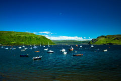 Scotland. Portree Harbour  Isle of Skye capital east coast of Skye summer time vacation Royalty Free Stock Photography