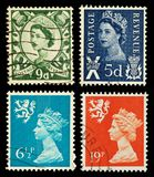 Scotland Postage Stamps. Four Postage Stamps from Scotland, Britain royalty free stock image