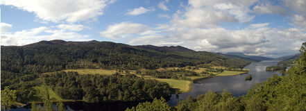 Scotland Queen's View. A panoramic view of Loch Tummel, called Queen's View after a visit of Queen Victoria in 1866 Royalty Free Stock Images