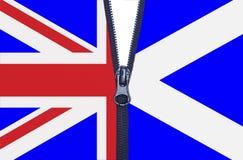 Scotland Referendum Zipper. Zipped Scotland and United Kingdom flags referendum split Stock Photos