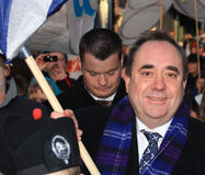 Scotland's First Minister - Alex Salmond. Scotlands First Minister Alex Salmond at the launch of the Burns Light festivities in Dumfries on Burns Night launching stock photo