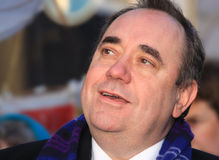 Scotland's First Minister - Alex Salmond. Scotlands First Minister Alex Salmond at the launch of the Burns Light festivities in Dumfries on Burns Night launching stock images