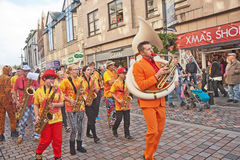 Scotland's youth street band. Marching in High Street during the Inverness Street Festival held on 18th to 20th October 2014 Royalty Free Stock Photo