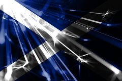 Scotland shining fireworks sparkling flag. New Year 2019 and Christmas futuristic shiny party concept flag. royalty free illustration
