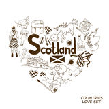 Scotland Symbols In Heart Shape Concept. Stock Images