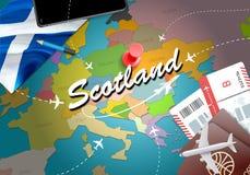 Scotland travel concept map background with planes,tickets. Visit Scotland travel and tourism destination concept. Scotland flag royalty free illustration