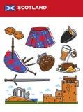 Scotland travel destination promotional poster with country symbols. Scotland travel destination vector illustration. Chocolate cookies, traditional kilt, black Stock Photos