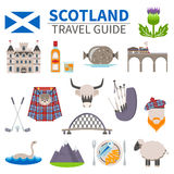 Scotland Travel Icons Set. With culture and traditions symbols flat  vector illustration Stock Photos