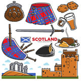 Scotland UK travel tourism landmarks and famous tourist attractions vector icons Royalty Free Stock Images